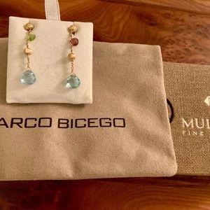 Marco Bicego 18K gold drop earrings mixed gems